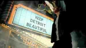 Screen grab from Chrysler's Imported from Detroit Super Bowl ad, starring rapper Eminem.