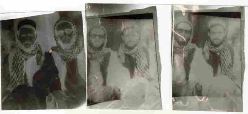 The initial negative image and two subsequent positive images of Birk and his friend Sean, taken by a street photographer in Mazar i Sharif.