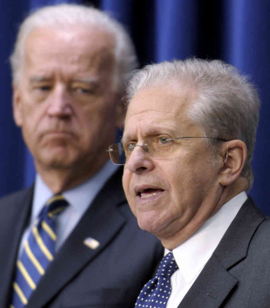 Laurence Tribe talks as Vice President listens, November 2010.
