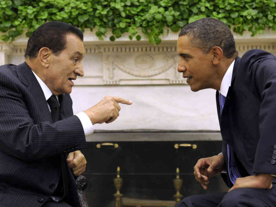 President Barack Obama meets with Egyptian President Hosni Mubarak in Washington, D.C. in 2010. Now tensions escalate between the two leaders as protests against Mubarak continue to shake Egypt.