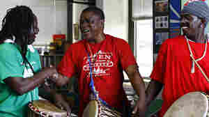 Sierra Leone's Refugee All Stars perform a Tiny Desk Concert at the NPR Music offices on Sept. 10, 2010.
