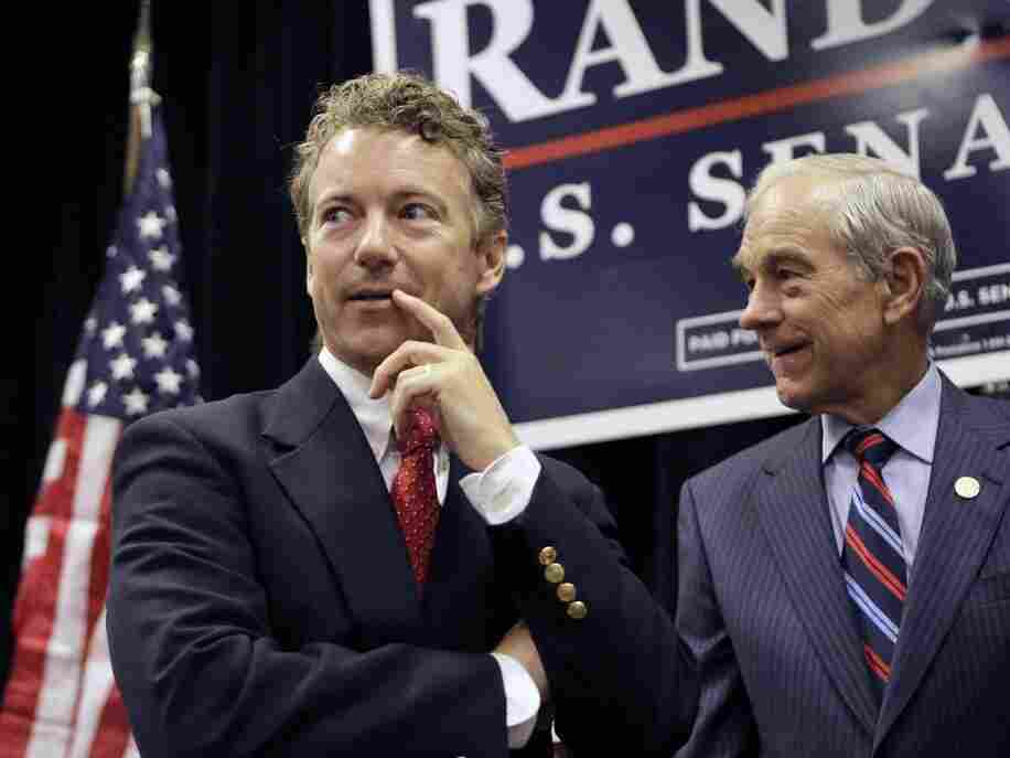 Rep. Ron Paul (R-TX) with his son Sen. Rand Paul (R-KY), October, 2010.