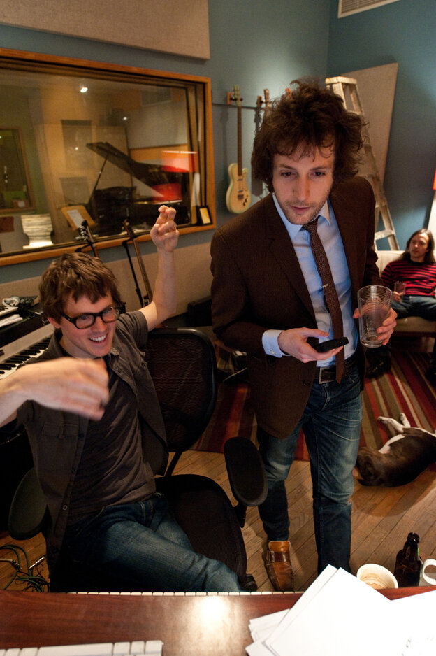Son Lux (Ryan Lott) in the studio with Rob Moose (standing in foreground) and CJ Camerieri (seated in back).  Moose and Camerieri are co-founders of yMusic.