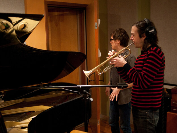 Son Lux (Ryan Lott) in the studio with CJ Camerieri, co-founder of yMusic, on trumpet.