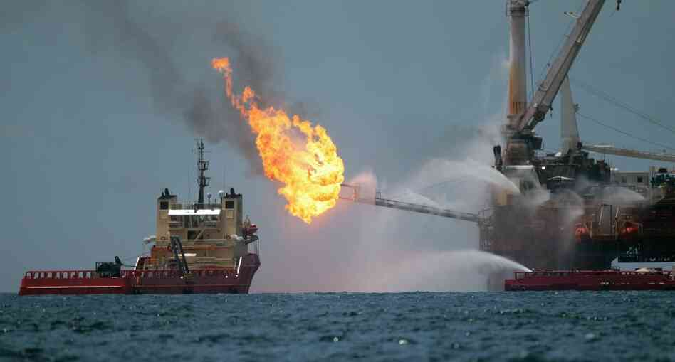 A drilling rig burned oil and gas captured from BP's blown-out well in July 2010.