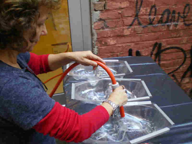 The sculptures are made from water poured into molds and then frozen. They are individually retouched before packing.
