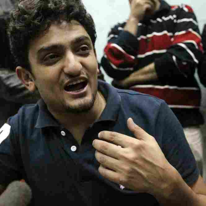 After addressing the crowd of protesters, Wael Ghonim spoke to reporters at Cairo's Tahrir square on Tuesday (Feb. 8, 2011.)