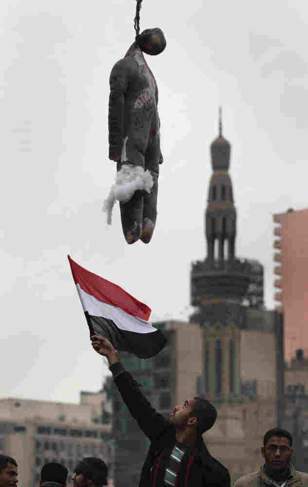 An effigy of Mubarak hangs at a traffic intersection in Cairo's Tahrir Square on Feb. 5, 2011, amid widespread anti-government protests.