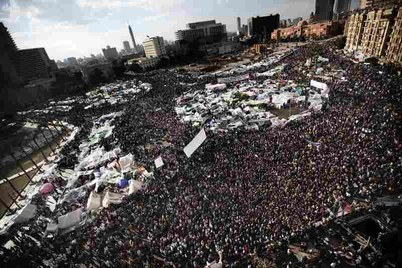 Crowds jam into Tahrir Square on Thursday afternoon after rumors swept the country that Mubarak would step down. Instead, he transferred some authority to his vice president.