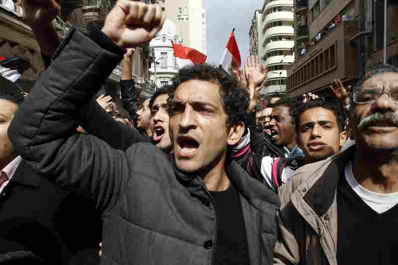 Egyptian actor Amr Waked shouts with anti-government demonstrators in Tahrir Square.
