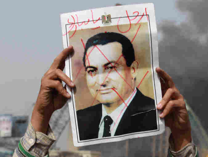Egyptian President Hosni Mubarak meeting with Emirates Foreign Minister Sheikh Abdullah bin Zayed al-Nahayan in Cairo as protests in the city continue. As of yet, Mubarak still claims presidency, although he has said he will not run for re-election.