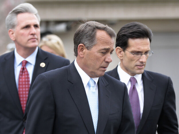 House Speaker John Boehner (R-OH) , center, with Majority Leader Eric Cantor (R-VA), right, and Majority Whip Kevin McCarthy (R-CA), Feb. 9, 2011.