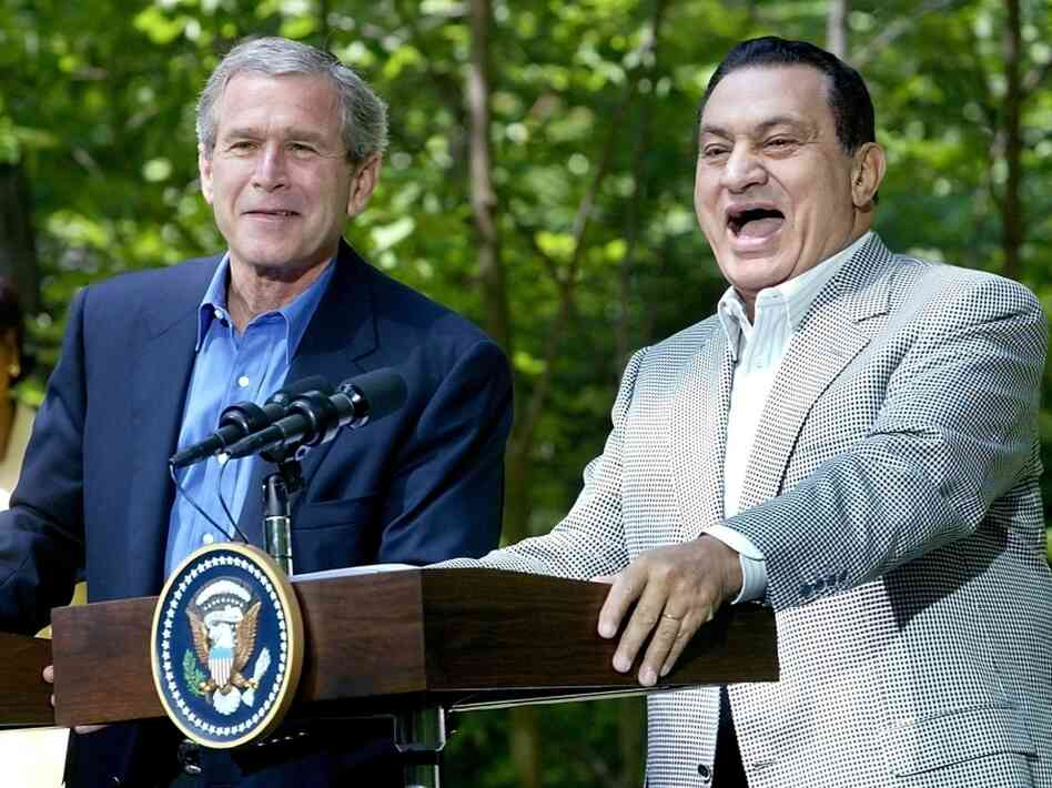 In June 2002, then-President George W. Bush held a joint news conference with Egyptian President Hosni Mubarak at Camp David in Maryland.