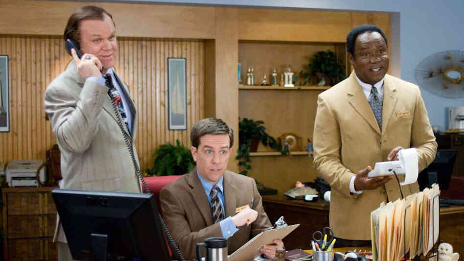 At an insurance-sales convention, a naive small-towner (Ed Helms, center) unexpectedly shares a hotel room with two decidedly more worldly colleagues (John C. Reilly, left, and Isiah Whitlock Jr.) — who drag him far outside his rural comfort  zone.