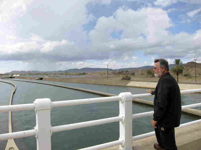 Doug Cox looks out on the Colorado River from Imperial Dam, which he manages.