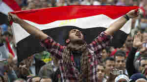 An Egyptian anti-goverment holds his national flag as he shouts slogans against President Hosni Mubarak at Cairo's Tahrir Square on February 10, 2011, on the 17th day of protests against Mubarak's regime.