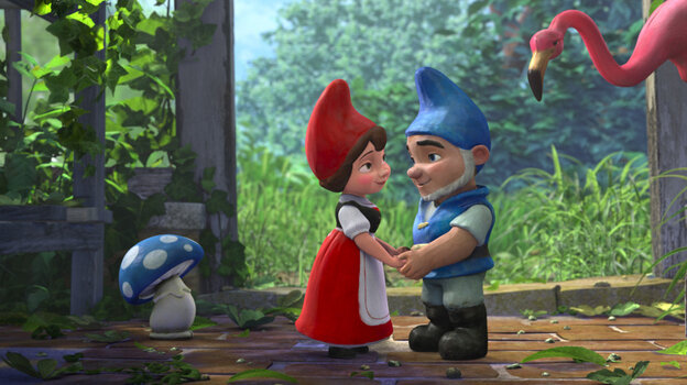 Two young lovers (voiced by Emily  Blunt and James McAvoy) try to transcend the long-simmering rivalry  between their brightly colored garden-gnome families.  But don't expect a  story of too much woe — it's a kid-friendly animated adaptation of the  classic.