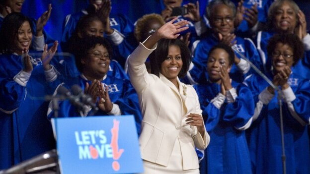 "Michelle Obama gives a talk at the North Point Community Church in Alpharetta, Ga., on Wednesday about her ""Let's Move!"" campaign."