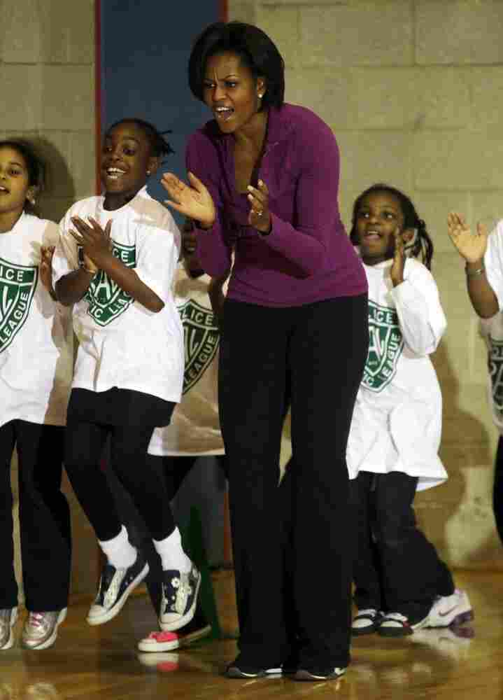 Michelle Obama participates in a Let's Move after-school event with Harlem elementary school students in November.
