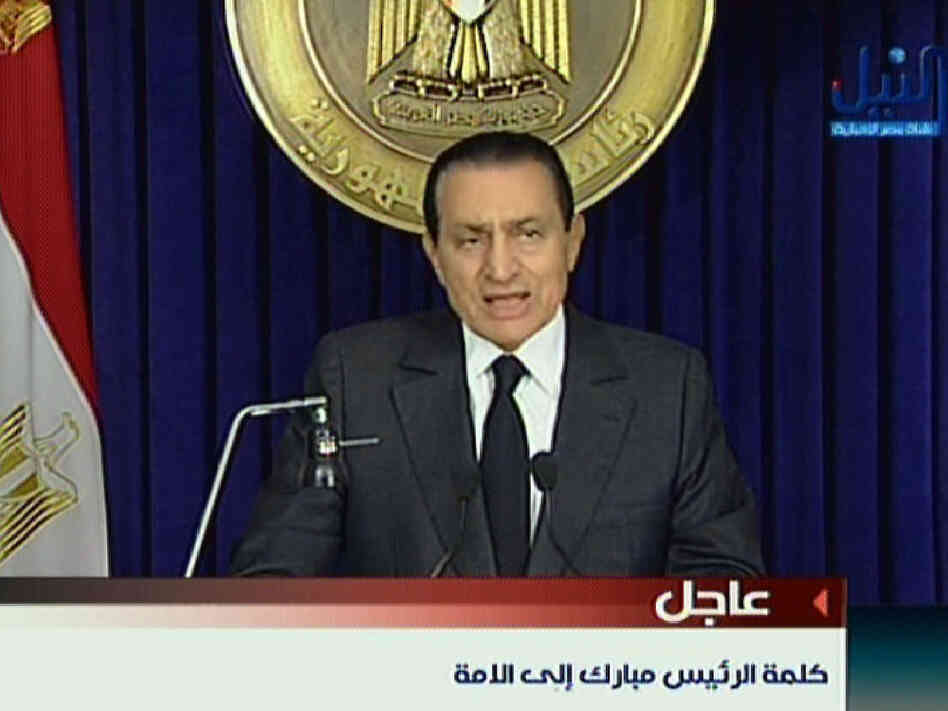 Egyptian President Hosni Mubarak addresses the nation on state television Thursday.
