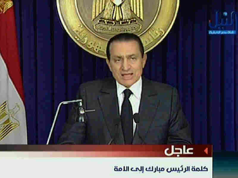 Mubarak speaks on Egyptian state television Thursday. Despite weeks of protests demanding his resignation, he said he would pass some authority on to Vice President Omar Suleiman, but would stay in office until September.