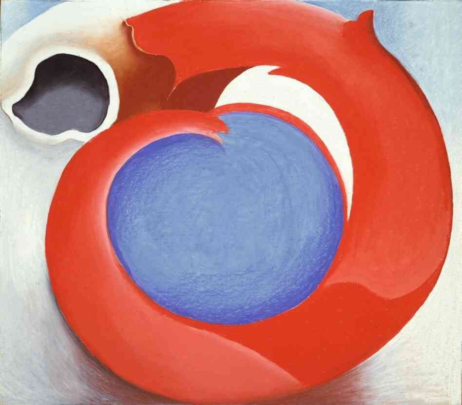 "Georgia O'Keeffe, averse to the interpretations of her work, responded with a series of horns and antlers. According to the exhibition, this one was a ""representation of womanhood, protected and bulwarked from the world of men."" Goat's Horn with Red, 1945"