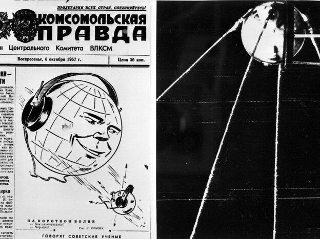 The front page of the Soviet newspaper Komsomolskaya Pravda after the 1957 launch of world's first satellite: Sputnik.