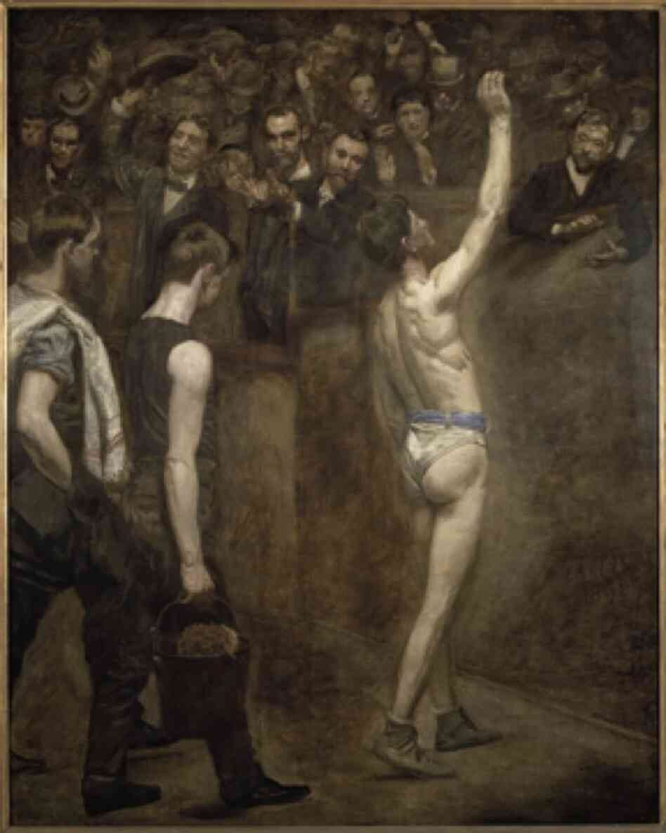 Eakins' Salutat, 1898, depicted a boxer after a fight — an object of admiration by a male audience, rather than an athlete in a fight.