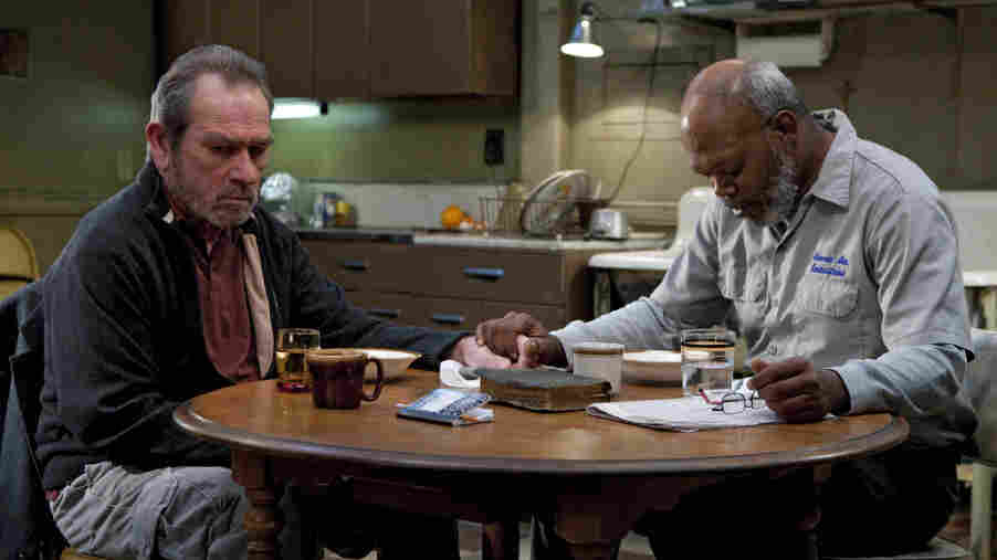 Tommy Lee Jones (left) and Samuel L. Jackson in The Sunset Limited.