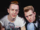 Joe Strummer (1952 - 2002, left) and Paul Simonon of the punk rock group The Clash, 1984. (Photo by Unimedia/Getty Images)