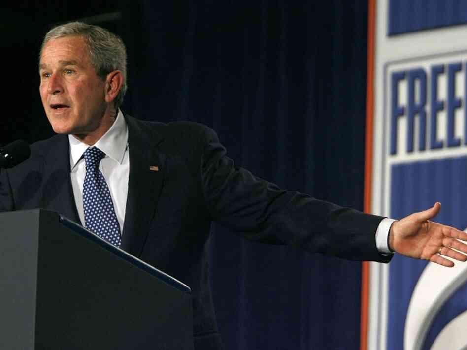 In 2006, then-President George W. Bush spoke in Washington about the war in  Iraq. Bush outlined his beliefs about freedom,  democracy and security in Iraq, and took questions from the audience about  issues ranging from Africa to the elections in  the Palestinian territories.