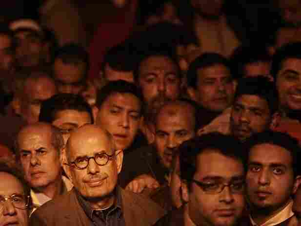 Opposition leader Mohamed ElBaradei arrives to speak to supporters in Cairo's Tahrir Square.