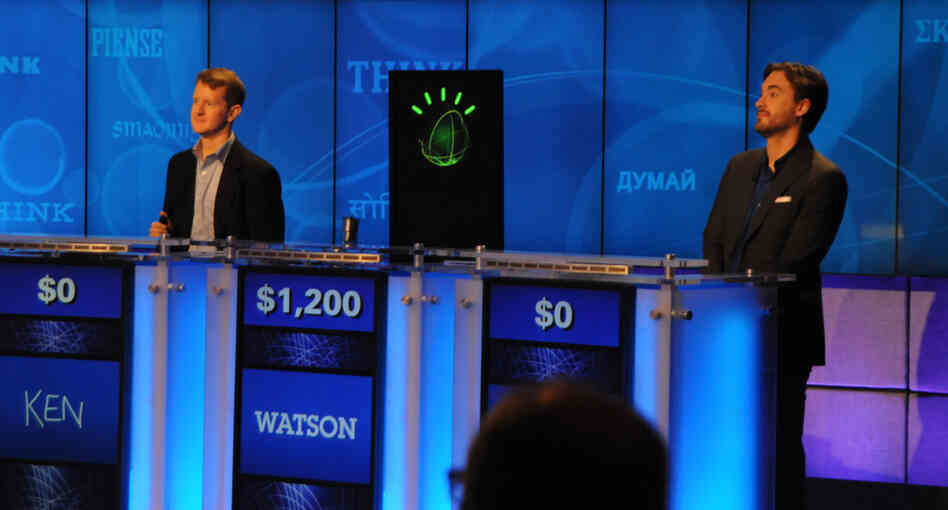 IBM's Watson computer system competes in a Jeopardy! practice round on Jan. 13 against two of the show's most celebrated contestants: Ken Jennings and Brad Rutter.