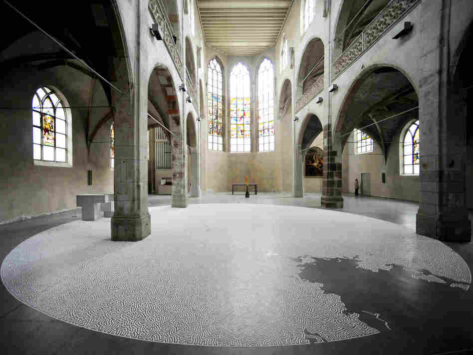 Another of Motio Yamamoto's salt labyrinths in the Kunst-Station at the Jesuit Church of St Peter in Cologne, Germany.  After the exhibit closed, Yamamoto invited visitors to return the labyrinth's salt back to the sea.