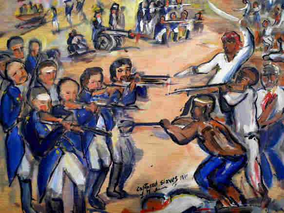 This portrait depicts the Louisiana slave revolt in 1811 led by Charles Deslondes.
