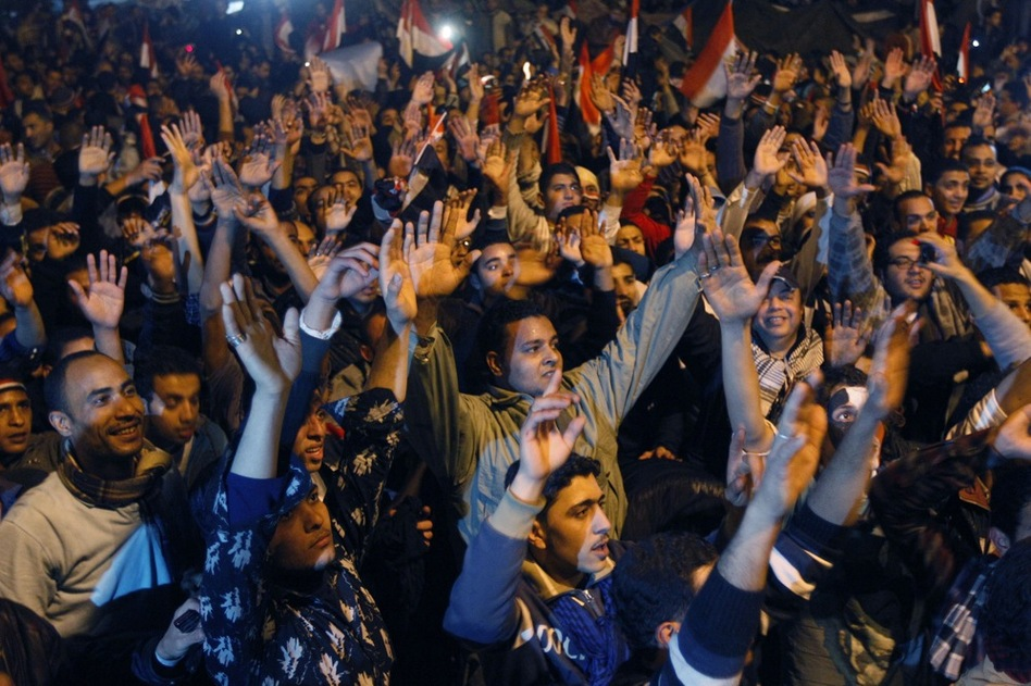 "Hundreds of thousands chanted, ""The people have brought down the regime!""  (AP)"