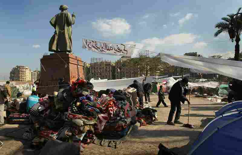A mountain of blankets sits in an encampment in Tahrir Square.