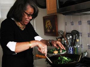 Food writer Jessica Harris prepares Brazilian-style collard greens.