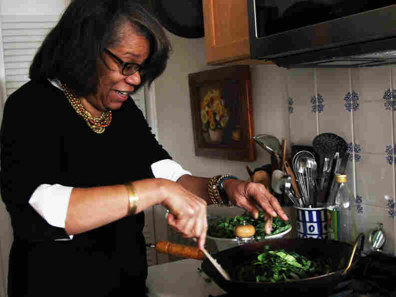 Food writer Jessica Harris prepares Brazilian-style collard greens.