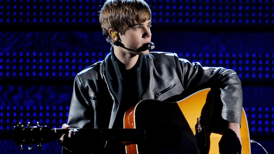 Singer Justin Bieber performs onstage during the 53rd Annual Grammy Awards on Sunday night.