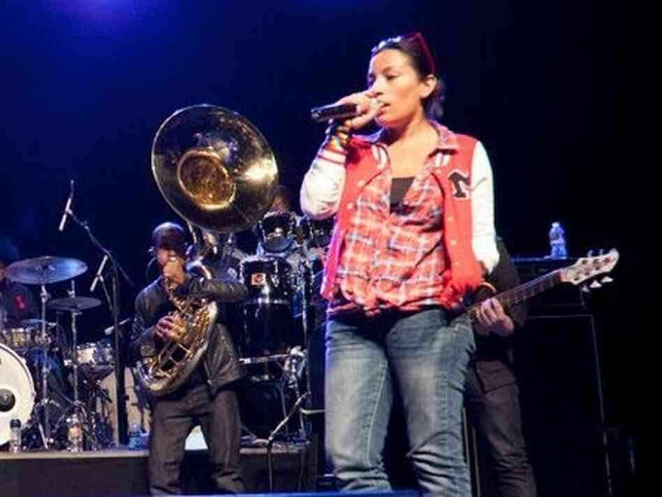 Ana Tijoux rehearses with The Roots for the Grammy Jam session last weekend.