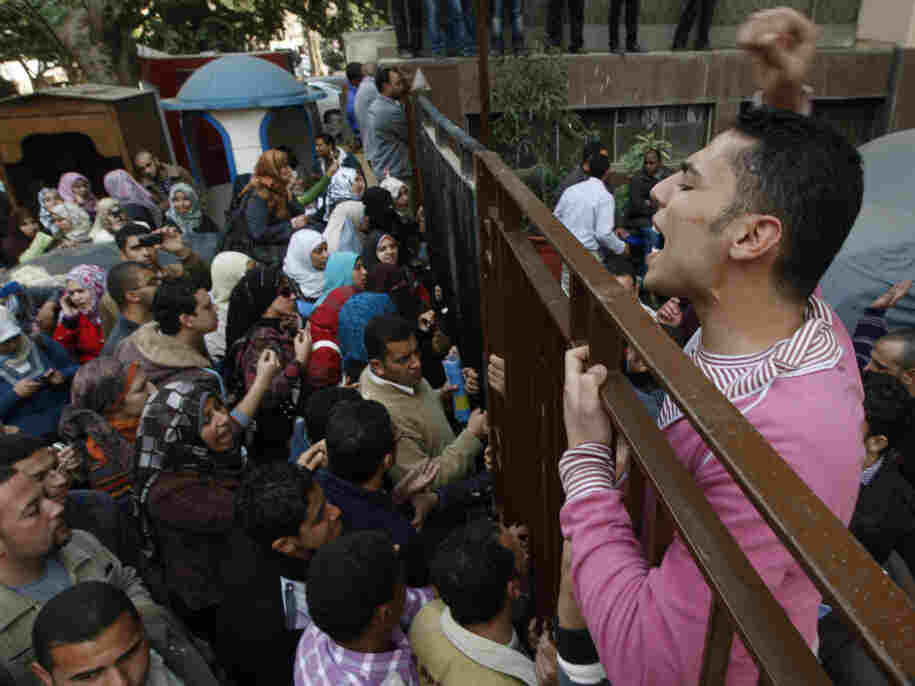 Egyptian antiquities graduates protested in front of the Supreme Council of Antiquities in Cairo today (Feb. 14, 2011). They were among many groups demanding jobs, higher pay or better working conditions.