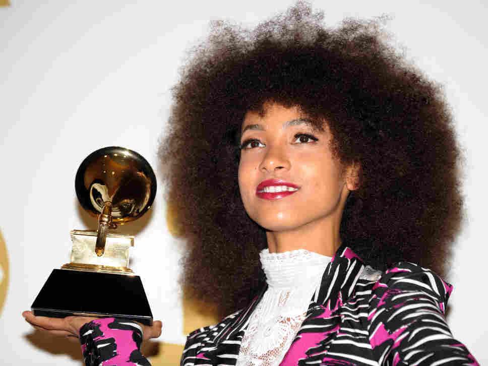 Esperanza Spalding poses with her Grammy Award.