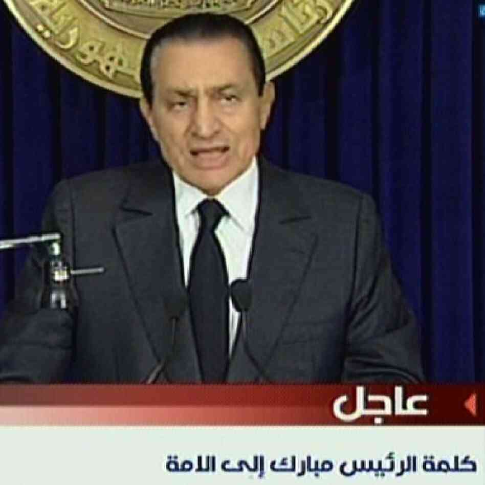 Mubarak as he addressed the Egyptian people on state TV last Thursday.