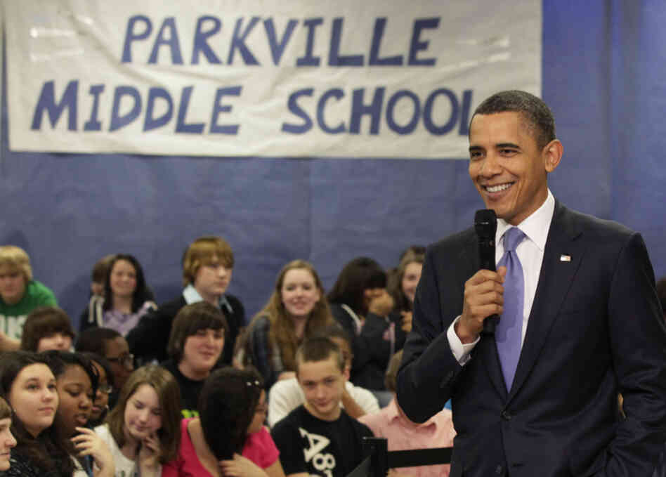 President Obama spoke at Parkville Middle School and Center of Technology in Parkville, Md., on Monday.