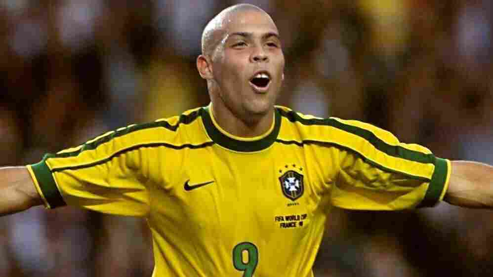 Brazilian forward Ronaldo celebrated after scoring his second goal during the 1998 Soccer World Cup second round match between Brazil and Chile.