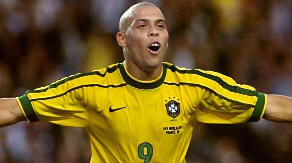Brazilian forward Ronaldo celebrated after scoring his second goal durin
