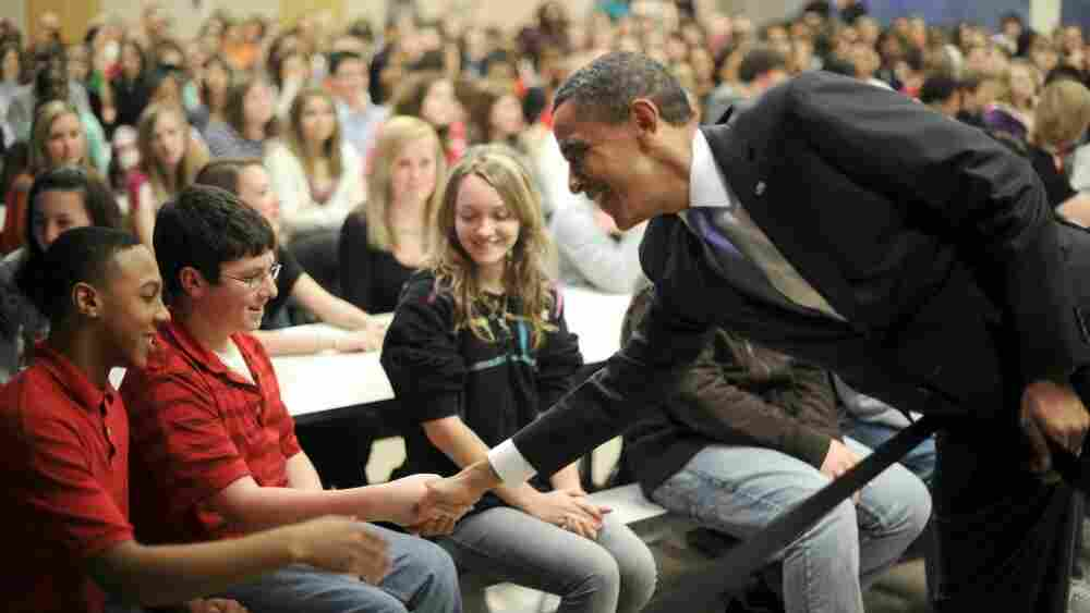 President Obama shakes hands with eighth grade students Monday during a visit to Baltimore's Parkville Middle School and Center of Technology, where the president spoke about his 2012 budget proposal.
