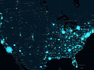 A visualization of how many tweets were sent on New Year's Eve 2010 in the United States.