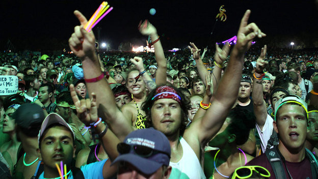 The crowd celebrates at the 2010 Bonnaroo arts and music festival.